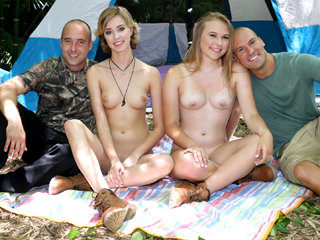 Hot sexy blonde friends Alyssa and Haley swap each others dad for them