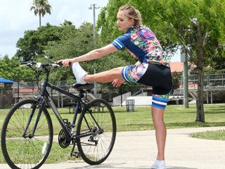 Sexy cyclist chick Avalon gets banged by her physical trainers cock